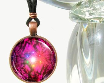 Chakra Necklace, Red Energy Pendant,  Reiki Attuned Fuchsia Jewelry