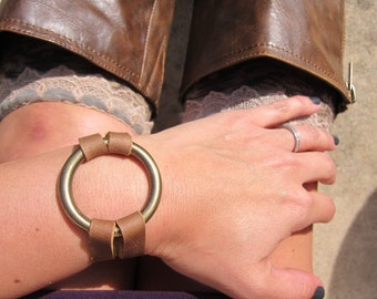Genuine Leather Brass Circle Ring Bracelet