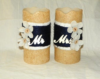 "Timer LED Candle Mr & Mrs 6"" Textured TIMER PILLAR Candles, Battery Operated, Wedding Gift, Navy Blue, Beige and Burlap Flower"