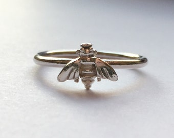 Bella Bee - sterling silver stacking ring, Bee ring, stacking ring, silver ring, silver bee, bee