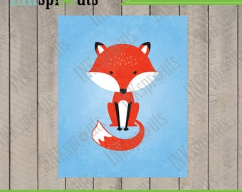 INSTANT DOWNLOAD, Cute fox, woodland fox, Fox print, forest friends, forest animals, modern nursery print, nursery print, Item 074D