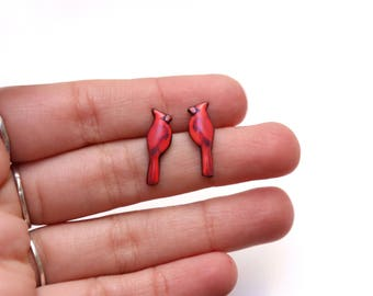 Red Cardinal Bird, Cardinal earrings jewelry, Northern cardinal earrings Northern cardinal stud earrings Gift idea for her
