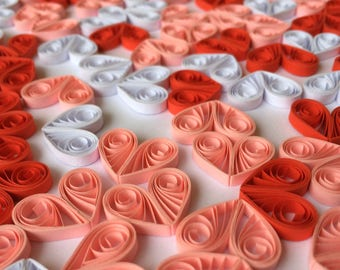 Quilled Hearts Paper Quilling Art Confetti Scatter Ornaments Gifts Fillers Easter Mothers Day Baby Bridal Shower Wedding Red Pink White