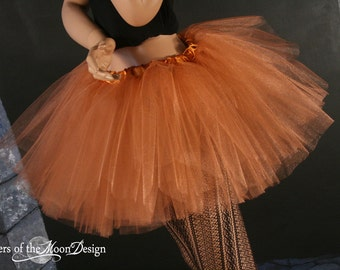 Copper tutu iridescent adult skirt glimmer tulle bridal petticoat dance costume halloween metallic -- You Choose Size -- Sisters of the Moon