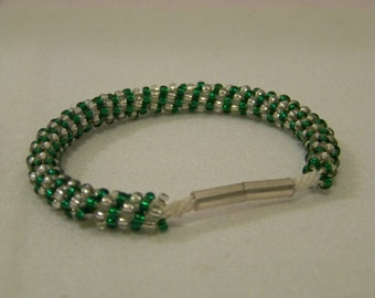 Delicate Crystal and Green Seed Bead Kumihimo Braided Bracelet
