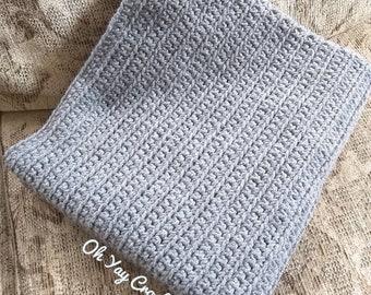Tickled Grey Crocheted Baby Blanket