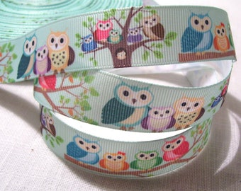 Ribbon grosgrain printed * 22 mm * OWL family - sold by the yard