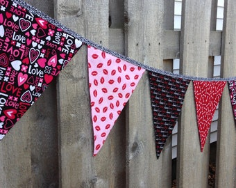 LOVE WEDDING BANNER--Love Garland Bunting Flags--Red White Pink Black--Fabric Valentine Banner--Hearts Love Lips Kisses Cupids Arrows