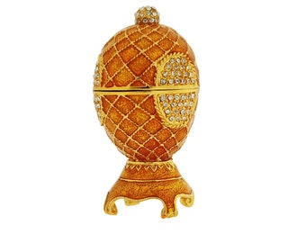 Goldtone Diamante Faberge Style Egg Trinket Box, Decorated Egg Collectable Ornament - 9cm