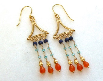 Reserved...Modern Cleopatra...Blue Sapphire, Pyrite and Carnelian Earrings in 22 k Gold Vermeil...