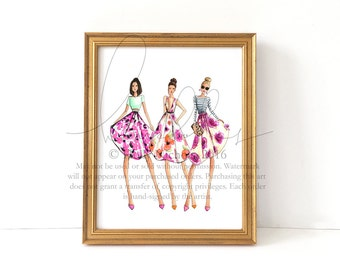 Garden Girls (Fashion Illustration Print)