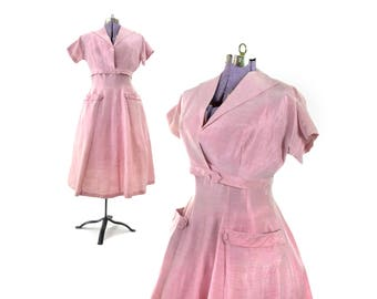 Pink Dress, Pink Suit Dress, 50s Dress, 1950s Dress, 1940s Dress, 40s Dress, large vintage dress, large 40s dress, vintage clothing