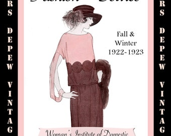 Vintage Sewing Book Fall & Winter 1922 - 1923 Fashion Service Magazine Dressmaking Ebook with Flapper Fashions -INSTANT DOWNLOAD-