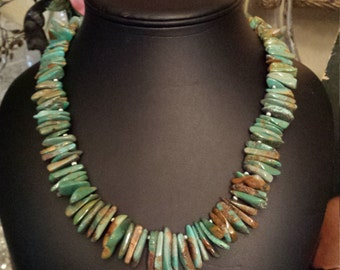 natural turquoise drop one strand necklace