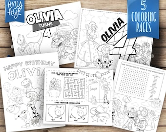 Toy Story personalized coloring pages, 5 printable coloring pages, Toy Story printables, Party games coloring pages, COP004-B