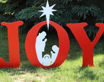 JOY Nativity Yard Art, Outdoor Christmas Sign, Christmas Decoration, Holiday Yard Art
