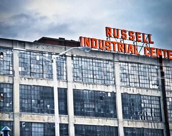 Russell Industrial Center Sign Detroit Fine Art Photograph on Metallic Paper