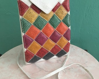 vintage 80's patchwork handbag // leather crossbody bag