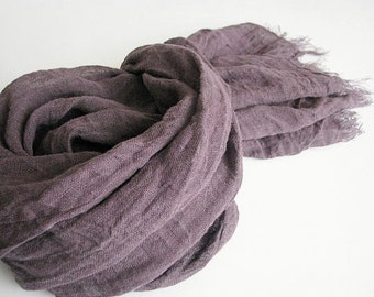 Linen scarf- men/ women- eggplant/ aubergine color shawl- spring/ summer accessories- gauze