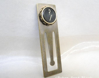 Schreibmaschine Schlüssel Bookmark Frage Mark-Taste in edel Messing
