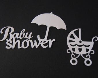 Set of 2 cut text and stroller baby shower