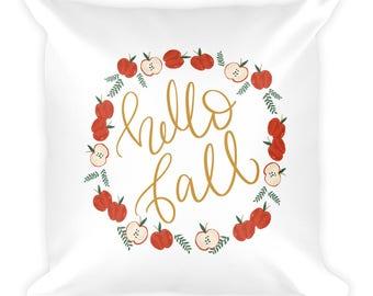 Hello Fall Autumn Illustrated Square Throw Pillow