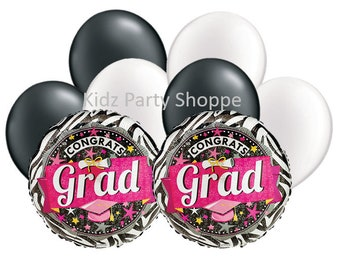 Graduation Balloon Set [8pc] Hot Pink Grad Party Decorations Supplies
