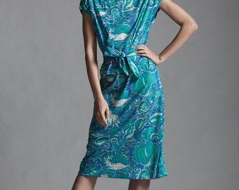 sea shell print sack dress green blue sleeveless belted vintage 70s MEDIUM M