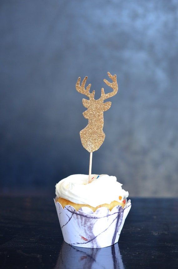 Glitter Deer Silhouette Cupcake Toppers - Buck Toppers in your choice of glitter gold, silver, blue, hot pink, midnight, and more!