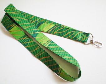 Green African Lanyard, African Green Fabric Lanyard, Green African Key Lanyard, Green African ID Badge Holder