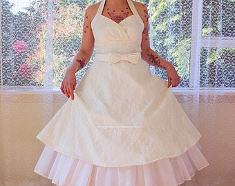 """1950's """"Arabella"""" Ivory Lace Wedding Dress with Duchess Satin Halterneck Trim and Belt, Tea Length Skirt and Petticoat - Custom made to fit"""