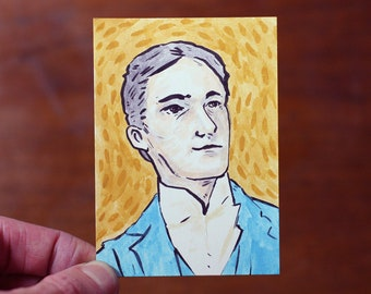 Original Portrait Painting Art Trading Card ACEO ATC Watercolor Ink