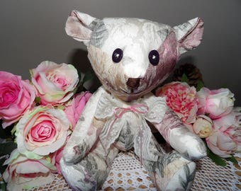 Bear Hugs Bears Damask, fabric bears, OOAK creations, Teddy bear, vintage style softie, decor item