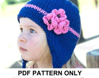 Knitting Pattern - Earflap Hat Pattern - the KIMBERLY Cap (Toddler, Child & Adult sizes incl'd)