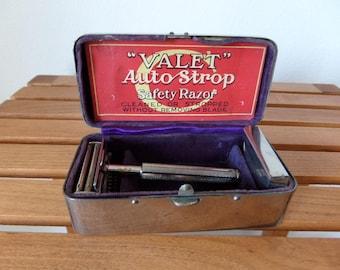 Flea  Market Find British  Safety Razor VALET Boxed Set  For the French M arket