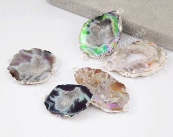 Wholesale Silver Plated Natural Titanium AB Color Onyx Agate Druzy Slice Connector Double Bails Drusy Gemstone Slice Geode Jewelry S1453