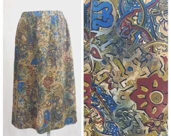 Vintage 80's Women Skirt Midi Knee Length Bronz Olive Abstract Pattern UK16 EU44