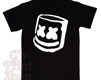 Marshmello Head T Shirt - Electronic Dance - Hip Hop - Christopher Comstock - Keep it Mello - Speak Your Mind - White