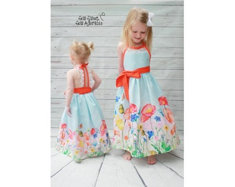 Girl's Maxi Dress, Girl's Floral Dress, Girl's Floral Maxi Dress, Toddler Maxi Dress, Flower Girl Dress, Lace Dress, Summer Dress, Halter