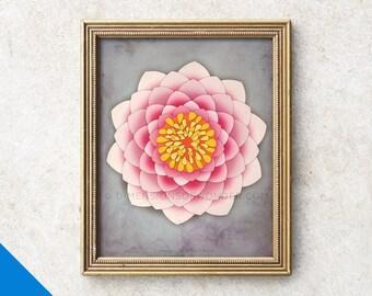 Meditation decor, lotus art print, peaceful art, inspirational, yoga studio decor, pink wall decor, lotus wall art pink, mindfulness gift