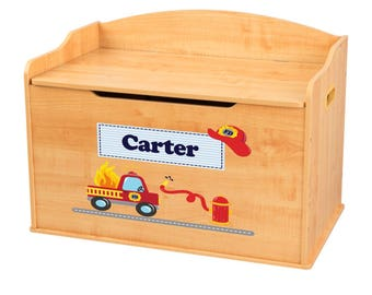 Personalized Fire Truck Natural Toy Box Bench