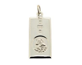 St Christopher Ingot 9ct WHITE GOLD Pendant Medium Personalised Saint Christopher & Chain Option 18th 21st Birthday Graduation Gift