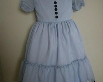 girls Dusty Blue Dress ( Alice in Wonderland dress) made to order