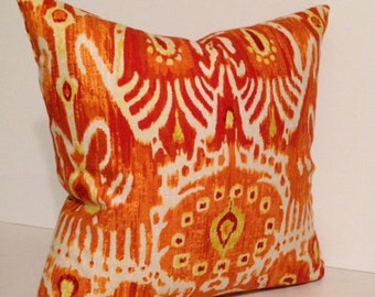 Ikat Orange Pumpkin and Navy Blue Cerva Decorative Pillow Cover