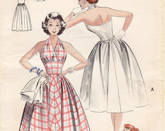 SZ 12/Bust 30 - Vintage 1950s Dress Pattern - Butterick 6141 - Misses' Halter Dress and Brief Jacket - Butterick Patterns