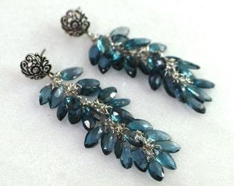 Long London Blue Topaz Wheat Earrings in Sterling Silver...