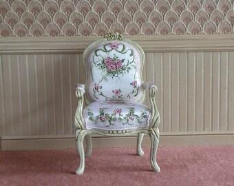 Miniature dollhouse French arm chair