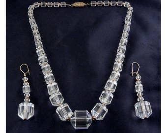 Art Deco Cut Crystal Barrel Graduated Beads - G. F. Necklace & Earrings