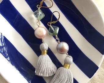Tassel Trio: Fluorite, Freshwater Pearls and Tan Tassel Earrings