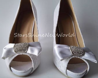 Custom White Ivory Lace Women Wedding Shoes High Heel Platform Pumps Peep Toes Bowtie Bridal Shoes